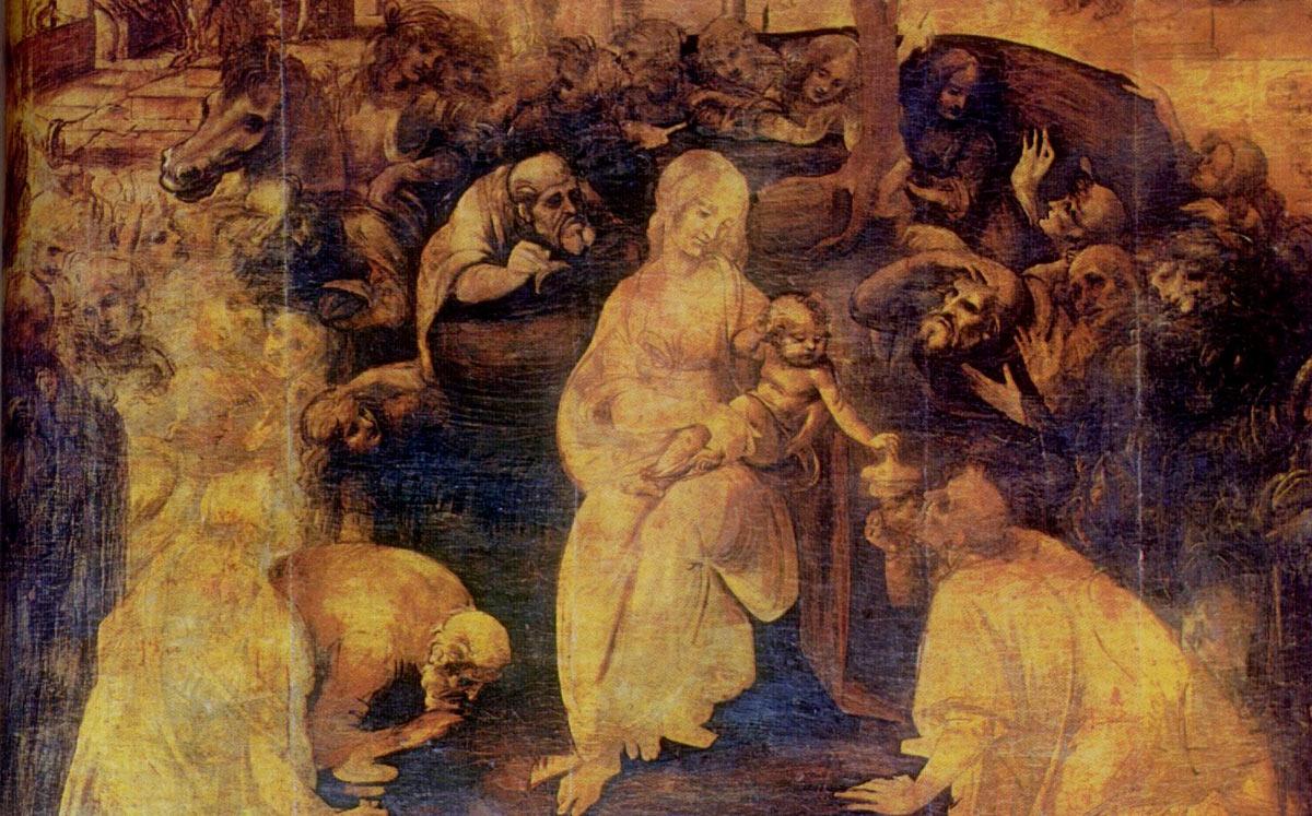 La adoración de los magos de Leonardo da Vinci