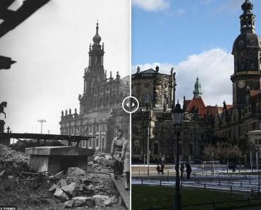 Espectaculares E Increíbles Imágenes De Cómo Estaba La Ciudad De Dresde Tras El Bombardeo Aliado Y Como Es Ahora.