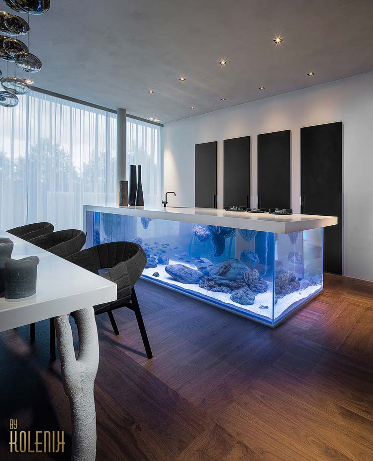 Este increíble acuario con una encimera de cocina está sorprendiendo a todo el mundo