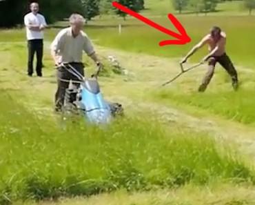 Competición para cortar la hierba. Cortadora mecánica contra guadaña. ¿Quién GANA?