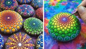 Esta artista convierte piedras en pequeños mandalas pintando INCREÍBLES patrones a mano 3