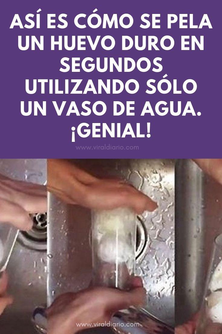 Así es cómo se pela un huevo duro en segundos utilizando sólo un vaso de agua. ¡GENIAL!