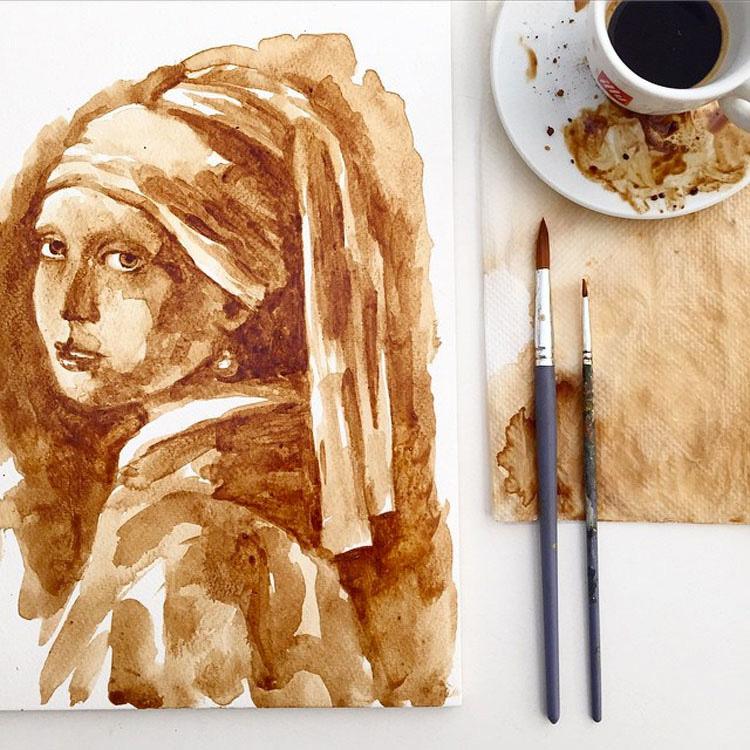 Los INCREÍBLEMENTE detallados retratos hechos exclusivamente con CAFÉ
