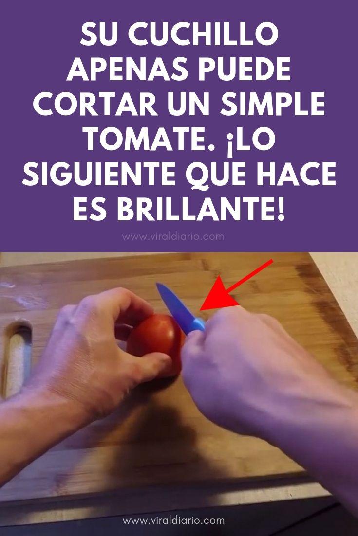 Su cuchillo apenas puede cortar un simple tomate. ¡Lo siguiente que hace es BRILLANTE!