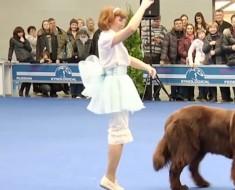 La muchacha empieza a bailar, pero cuando el perro hace ESTO, ¡me quedé boquiabierto!