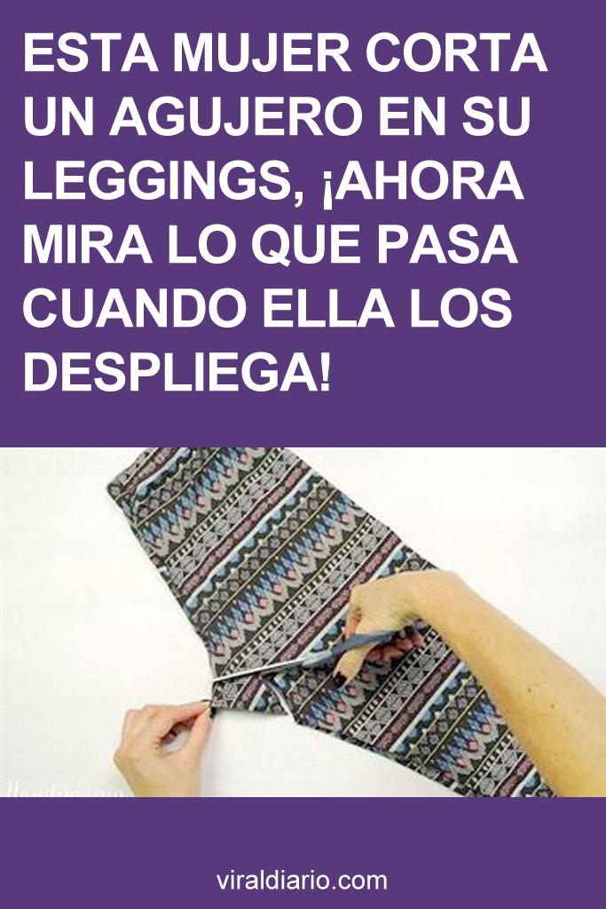 Esta mujer corta un agujero en su leggings, ¡ahora mira lo que pasa cuando ella los despliega!