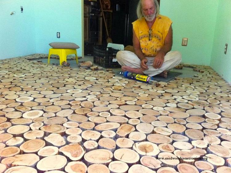 despus de cortar cada disco de dos centmetros y medio de altura lijaron cada pieza y las pegaron en el suelo de cemento