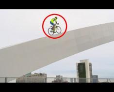 Él salta sobre su bicicleta, lo que sucede después es igual de ÉPICO como PELIGROSO