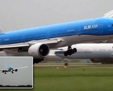 Este es el terrible momento en el que un avión de KLM aterriza en mitad de una violenta tormenta