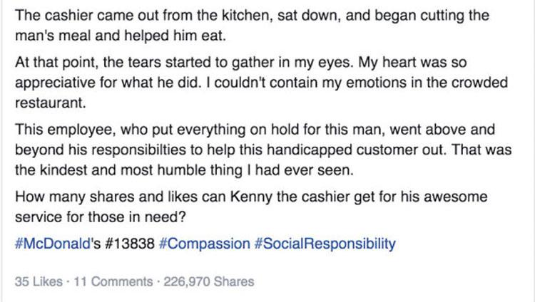 Sorprendió a un trabajador de un restaurante de comida rápida haciendo ESTO a un anciano, ahora es VIRAL
