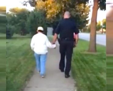 Este policía se aleja con una mujer mentalmente discapacitada. ¿Dónde la lleva? Se ha hecho viral