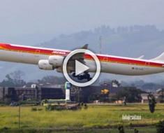 IMPRESIONANTE vídeo del aterrizaje de un avión en San José, Costa Rica