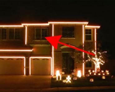 Parece que puso luces terroríficas alrededor de su casa, ahora ATENTOS a la ventana superior...