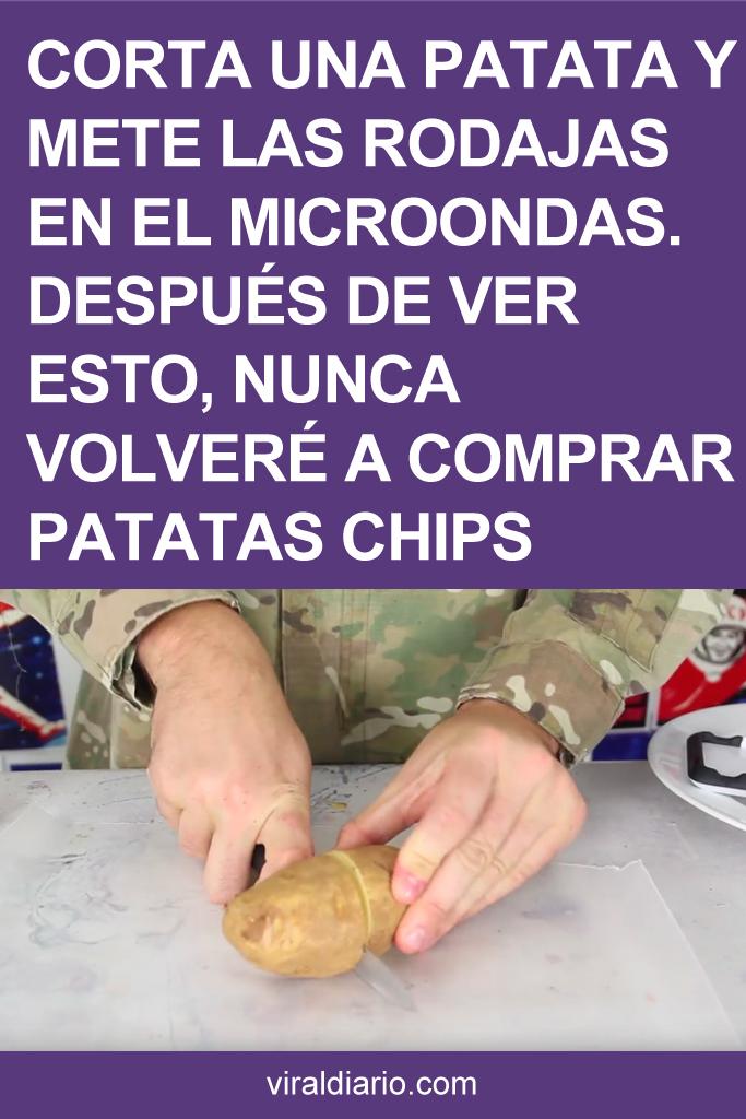 Corta una patata y mete las rodajas en el microondas. Después de ver esto, NUNCA volveré a comprar patatas chips