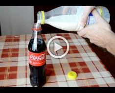 Esto es lo que sucede cuando se mezcla Coca-Cola y leche. No esperaba este tipo de reacción
