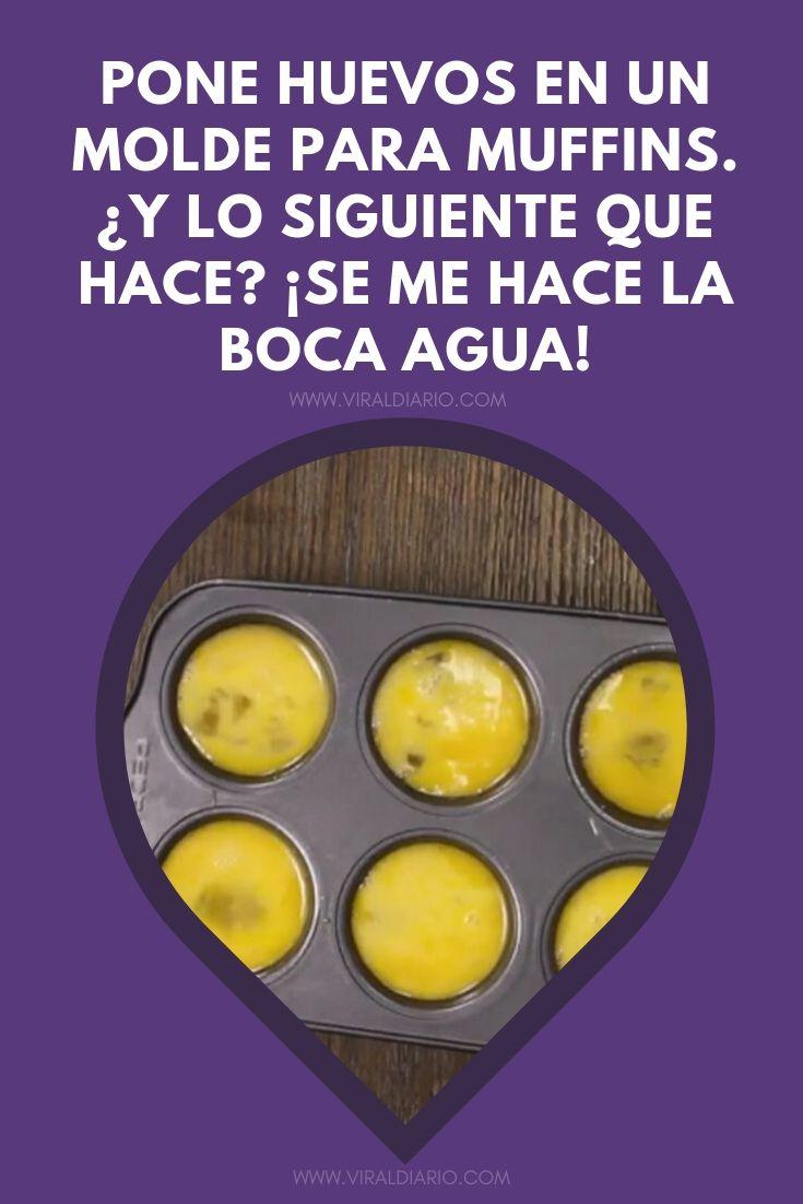Pone huevos en un molde para muffins. ¿Y lo siguiente que hace? ¡Se me hace la boca agua!
