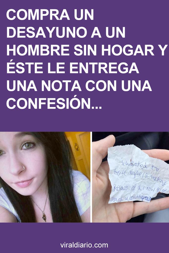 Compra un desayuno a un hombre sin hogar y éste le entrega una nota con una confesión impactante