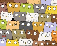 Este dibujo de búhos y un gato es la alucinante secuela del puzzle del panda. ¡A ver si lo resuelves!