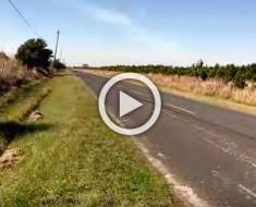 Este ciclista estaba solo en tierra de nadie. Ahora mira lo que se encontró sentado sobre sus pies