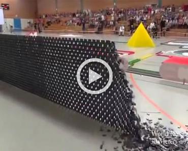 Colocaron 128.000 fichas de dominó. La reacción en cadena que sigue es ALUCINANTE