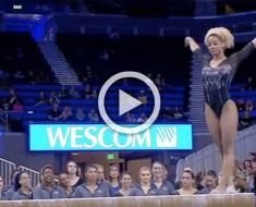 Esta gimnasta se prepara para comenzar, pero atención an su cuerpo en 1:12 - ¡impresionante!