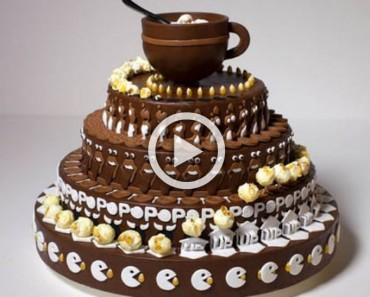 Esto parece que un extraño pastel decorado. Pero observa lo que sucede cuando comienza a girar