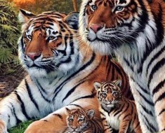 Pensaba que había cuatro tigres en esta pintura, pero tras un segundo vistazo... Me quedé SORPRENDIDO