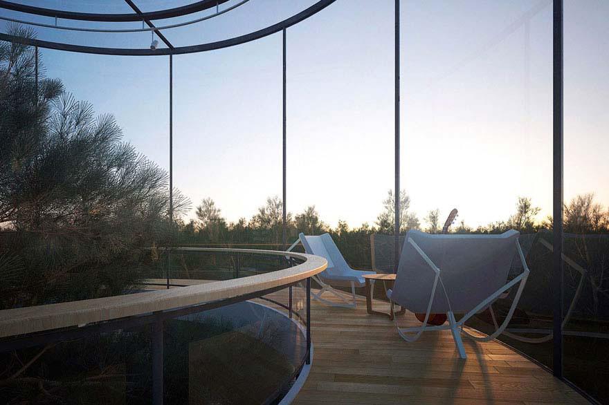 """Conoce la impresionante 'casa tubular de cristal"""" que está construida alrededor de un árbol"""