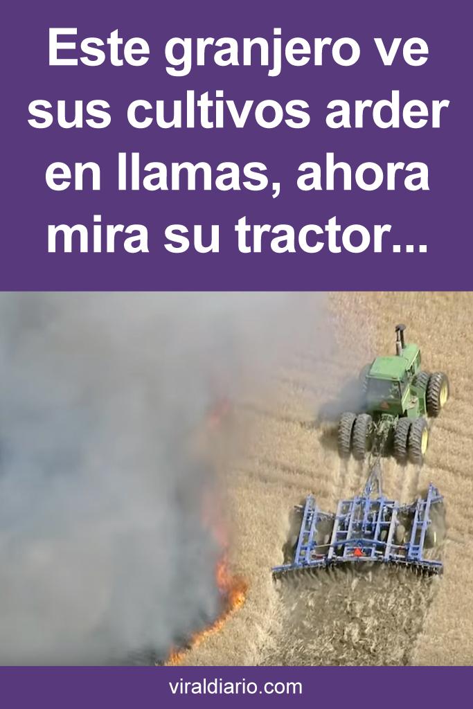 Este granjero ve sus cultivos arder en llamas, ahora mira su tractor. ¡Estoy sin palabras!