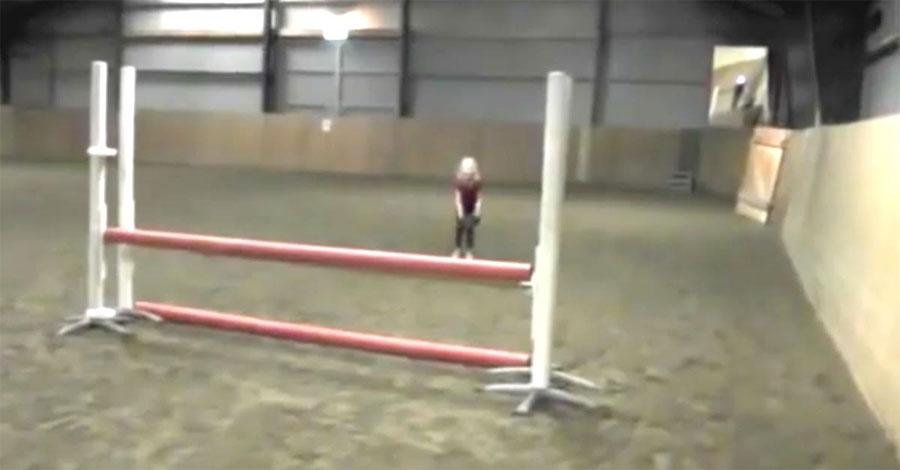 Esta niña espera delante de un gran obstáculo. Segundos después su padre filma algo increíble