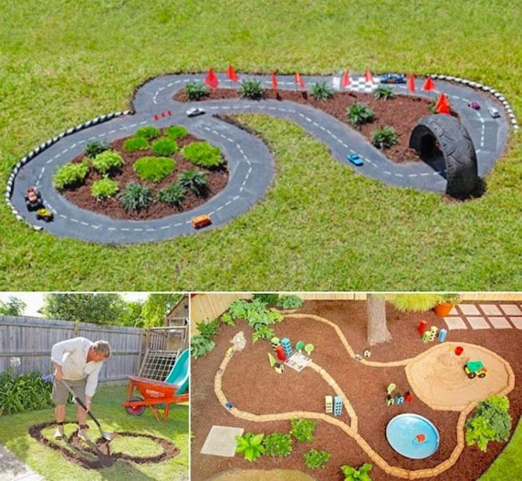 Este papá hace formas extrañas en el jardín. ¿Qué está haciendo? ¡Brillante!
