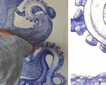 Este artista ha usado bolígrafos desechados durante 1 año para dibujar este pulpo gigante