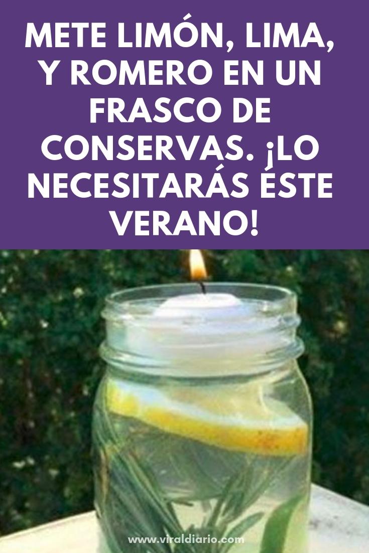 Mete limón, lima, y romero en un frasco de conservas. El resultado lo necesitarás éste verano
