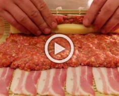 Enrolla bacon alrededor de carne y queso, y termina con algo sumamente apetitoso. ¡Tengo que probarlo YA!