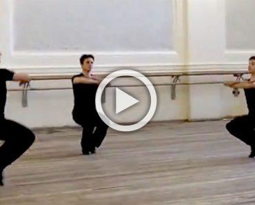 3 bailarines se mantienen en equilibrio con los dedos del pie, ahora mira al del medio... ¡FASCINANTE!