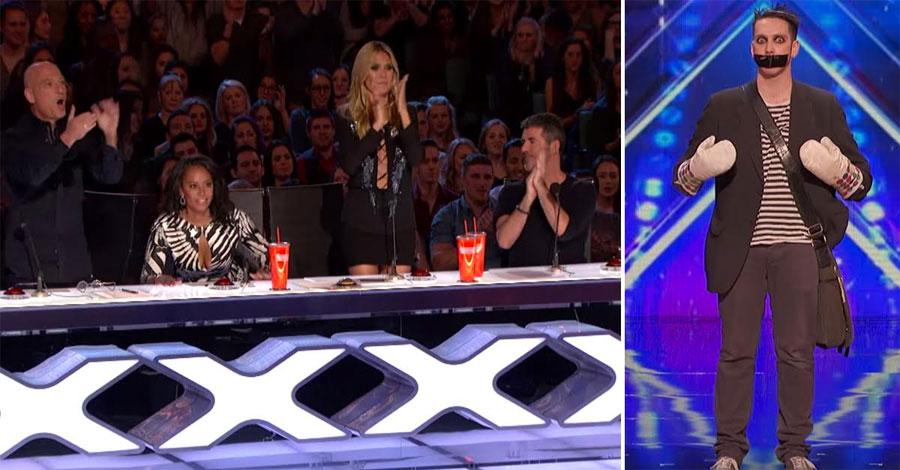 Los jueces se quedan asombrados cuando un extraño mimo entra en el escenario. ¡Ahora mira sus manos!