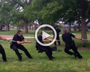 5 policías luchan con una cuerda, pero espera a ver lo que hay en el otro extremo ...