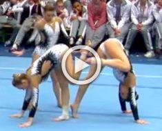 Parece que dos gimnastas están a punto de golpearse, pero atención a la tercera ...