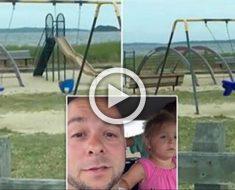 Este padre recoge a los niños y huye del lugar cuando ve esto ... ATENCIÓN al columpio