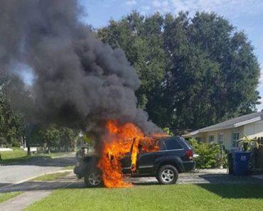 Entra en pánico al darse cuenta de lo que dejó en el coche cuando se incendió 2