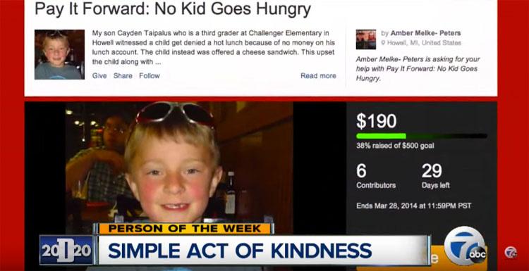 Este niño de ocho años con un 'Corazón de Oro' ayuda a pagar la deuda del almuerzo de los estudiantes