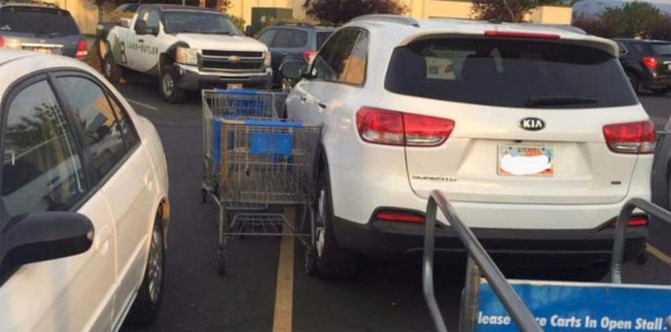 Unos extraños se vengan ASÍ, cuando un conductor bloqueó los carritos de la compra con su coche