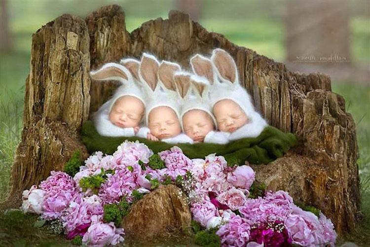 Esta madre da a luz a unos raros cuatrillizos idénticos. ¿Cómo consigue diferenciarlos? ¡Genial!