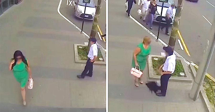 Un hombre grosero silba a una mujer, luego se quita la peluca para revelar que es... su madre