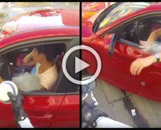 Lanza basura por la ventana, a continuación, un motorista le enseña una lección