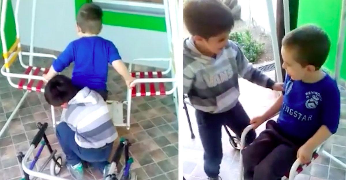 El vídeo del niño que está sorprendiendo al mundo por su bondad con otro niño discapacitado