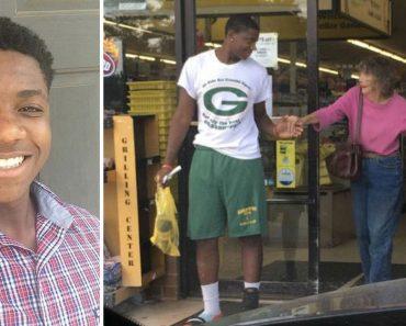 Este adolescente ve a una anciana lastimada en la puerta de una tienda y hace esto