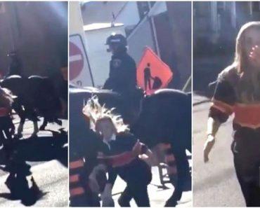 Esta chica le da un golpe al caballo de un policía, y éste se lo devuelve. ¿Qué opinas?