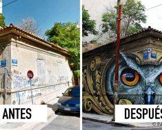 Este artista callejero transforma las aburridas paredes de su ciudad en obras de arte