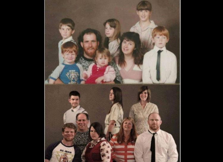 22 fotos familiares recreadas años después que te harán reír a carcajadas